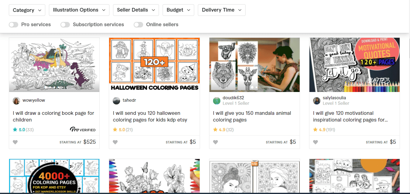 Coloring pages on Fiver